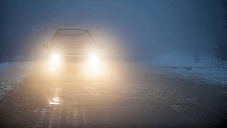 automobile; blinded; car; caution; cautious; conditions; danger; dangerous; dark; darkness; drive; driving; dusk; evening; fog; foggy; hazardous; haze; hazy; headlight; highway; lamp; light; mist; misty; night; oncoming; road; safety; severe; shine; shining; slippery; slush; slushy; snow; snowy; street; suv; traffic; transportation; travel; treacherous; weather; wet; winter;