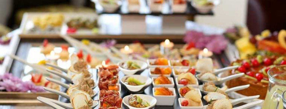 appetite; appetizer; arrangement; banquet; buffet; cater; catered; catering; celebration; cook; cooking; cutlery; decoration; delicatessen; delicious; dining; dinner; dish; dishware; eating; elegance; event; flowers; food; fresh; garnish; glass; gourmet; healthy; indoors; lunch; luxury; nobody; party; plate; prepared; reception; restaurant; seafood; service; setting; shallow dof; silverware; style; table; taste; tasteful; utensil; variety; wedding;